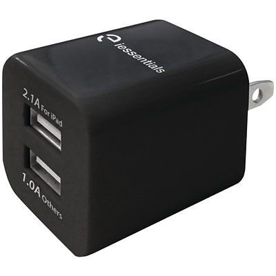 iessentials 3.4A Dual USB Wall Charger, Black