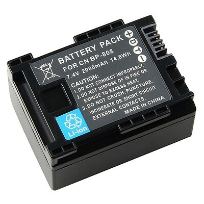 Insten® 284165 7.4 V 2000mAh Rechargeable Decoded Li-ion Battery For Canon BP-808; Black