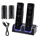 Insten® Dual Charging Station W/2 Rechargeable Batteries & LED Light F/Wii Remote Control; Black