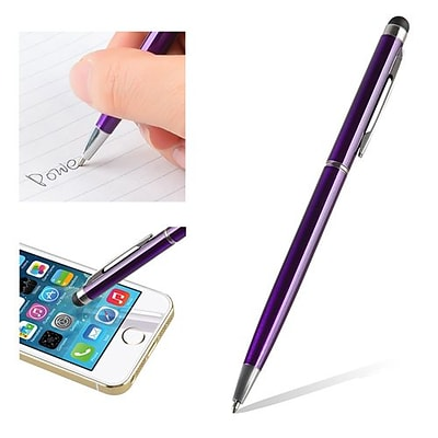 Insten® 1860581 5 1/2 Metal 2-in-1 Capacitive Touch Screen Stylus Ballpoint Pen, Purple