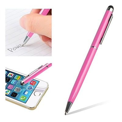 Insten® 1860581 5 1/2 Metal 2-in-1 Capacitive Touch Screen Stylus Ballpoint Pen, Pink