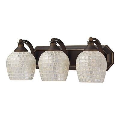 Elk Lighting Vanity 582570-3B-SLV9 7 x 20 3 Light Vanity; Silver Mosaic Shade