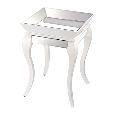 Sterling Industries 582114-799 28 Square Side Table; Gloss White/Silver