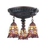 Elk Lighting Mix-N-Match 582997-AW-179 16 3 Light Semi Flush Mount, Floral Garden Tiffany Shade