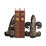 Sterling Industries 58287-20379 Set of 2 Noir Fleur De Lis Decorative Bookends, Brown
