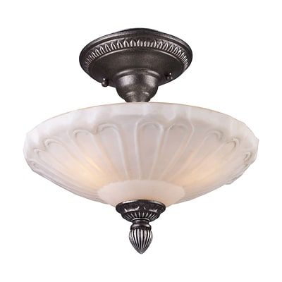 Elk Lighting Restoration 58266092-39 12 3 Light Semi Flush Mount, Dark Silver