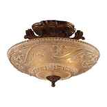 Elk Lighting Restoration 58208101-AGB9 11 3 Light Semi Flush Mount, Golden Bronze