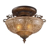 Elk Lighting Restoration 58208099-AGB9 14 3 Light Semi Flush Mount, Golden Bronze