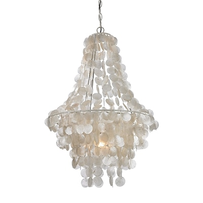 Sterling Industries 582122-0259 23 1 Light Pendant, Mother of Pearl Shell with White