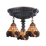 Elk Lighting Mix-N-Match 582997-AW-079 16 3 Light Semi Flush Mount, Grapevine Tiffany Shade