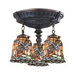 Elk Lighting Mix-N-Match 582997-AW-129 16 3 Light Semi Flush Mount, Dragonfly Tiffany Shade