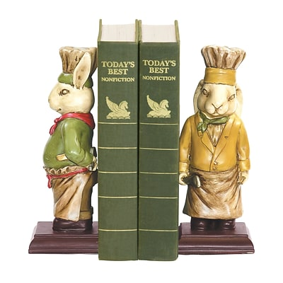 Sterling Industries 58291-27999 Set of 2 Chef Bunny Decorative Bookends, Multi