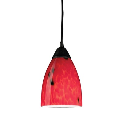 Elk Lighting Classico 582406-1FR-LED9 7 1 Light Pendant, Fire Red Shade
