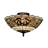 Elk Lighting Tiffany Buckingham 582941-TB9 8 3 Light Semi Flush Mount, Vintage Antique