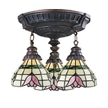 Elk Lighting Mix-N-Match 582997-AW-099 16 3 Light Semi Flush Mount, Tulip Tiffany Shade