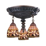 Elk Lighting Mix-N-Match 582997-AW-139 16 3 Light Semi Flush Mount, Floral Vine Tiffany Shade