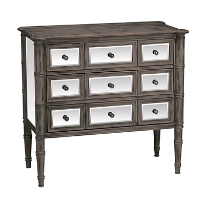 Sterling Industries Cheval 58284-00119 3 Drawers Accent Chest; Distressed Black/Mirror