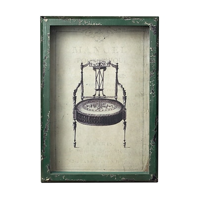 Sterling Industries Distressed Verde Framed Wall Art; 13H x 9W