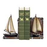 Sterling Industries 58291-39079 Set of 2 Sailboat Decorative Bookends, Brown/White