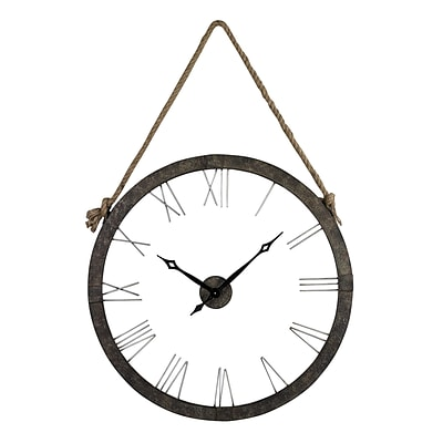 Sterling Industries 58226-86439 Leona Hung On Rope Metal Wall Clock, White Face