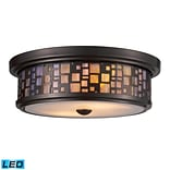 Elk Lighting Tiffany 58270027-2-LED9 4 2 Light Flush Mount, Oiled Bronze