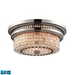 Elk Lighting Chadwick 58266411-2-LED9 5 2 Light Flush Mount, Polished Nickel