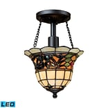 Elk Lighting Tiffany Buckingham 58270021-1-LED9 11 1 Light Semi Flush Mount, Vintage Antique