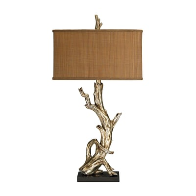 Dimond Lighting Driftwood 58291-8409 35 Incandescent Table Lamp; Silver Leaf