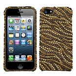 Insten® Diamante Phone Protector Cover F/iPhone 5/5S, Camel/Brown Tiger Skin