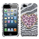 Insten® Diamante Phone Protector Cover F/iPhone 5/5S; Playful Leopard