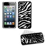 Insten® Fusion Protector Cover F/iPhone 5/5S; Natural Black Zebra Skin/Solid White