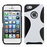 Insten® Cragsman Mixy Rubberized Phone Protector Cover F/iPhone 5/5S; White/Black