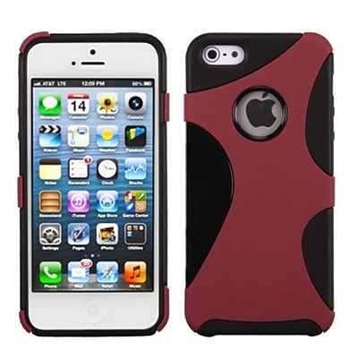 Insten® Cragsman Mixy Rubberized Phone Protector Cover F/iPhone 5/5S; Red/Black