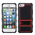 Insten® Gummy Cover W/Armor Stand F/iPhone 5/5S, Red