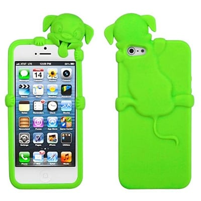 Insten® Dog Peeking Pets Skin Cover F/iPhone 5/5S; Electric Green