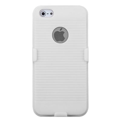 Insten® Hybrid Rubberized Holster F/iPhone 5/5S, Solid Ivory White