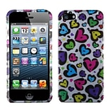 Insten® Phone Protector Cover F/iPhone 5/5S; Dimpled Hearts (2D Silver)