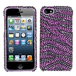 Insten® Diamante Protector Cover F/iPhone 5/5S; Purple/Black Zebra Skin