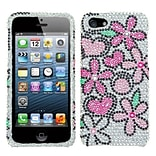 Insten® Diamante Protector Cover F/iPhone 5/5S; Fantastic Flowers