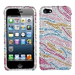 Insten® Diamante Phone Protector Cover F/iPhone 5/5S; Colorful Zebra
