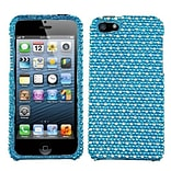 Insten® Diamante Phone Protector Cover F/iPhone 5/5S; Blue/White Dots