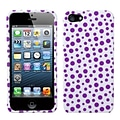 Insten® Phone Protector Cover F/iPhone 5/5S; Purple Mixed Polka Dots