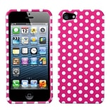 Insten® Phone Protector Cover F/iPhone 5/5S; Pink/White Dots