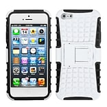 Insten® Rubberized Protector Cover W/Advanced Armor Stand F/iPhone 5/5S, White/Black