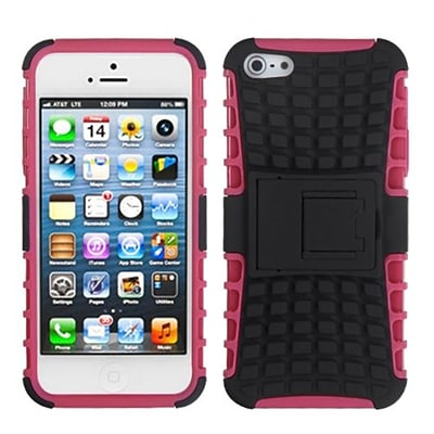 Insten® Rubberized Protector Cover W/Advanced Armor Stand F/iPhone 5/5S; Black/Hot-Pink