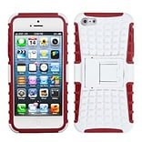 Insten® Rubberized Protector Cover W/Advanced Armor Stand F/iPhone 5/5S; White/Red
