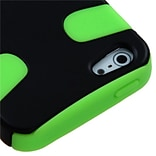 Insten® Fishbone Rubberized Phone Protector Cover F/iPhone 5/5S, Black/Electric Green