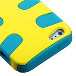 Insten® Fishbone Rubberized Phone Protector Cover F/iPhone 5/5S, Yellow/Tropical Teal