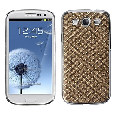 Insten® Executive Back Protector Case For Samsung Galaxy SIII; Brown Silver Plating Plaid/Golden