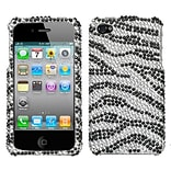 Insten® Diamante Protector Cover F/iPhone 4/4S; Black Zebra Skin